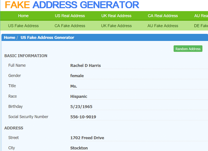 Fake Address Generator