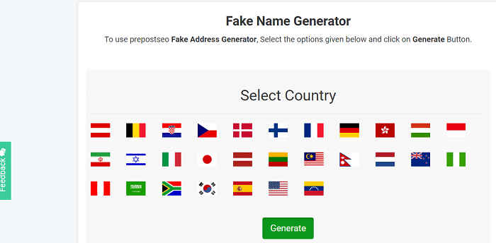 PrePostSEO Random Address Generator