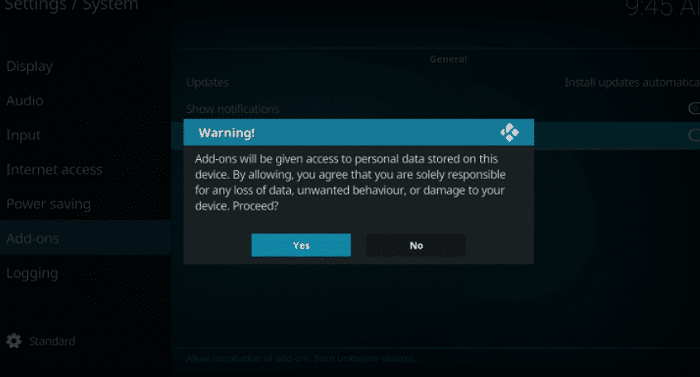 allow unknown source to add install kodi on fire tv