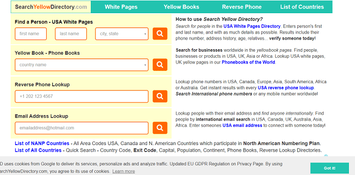 Search yellow directory