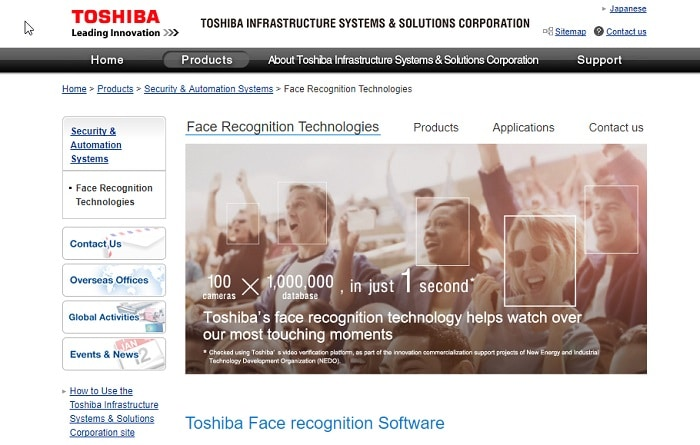 Toshiba Facial Recognition