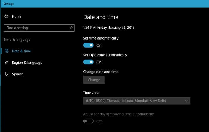 Windows Date & Time