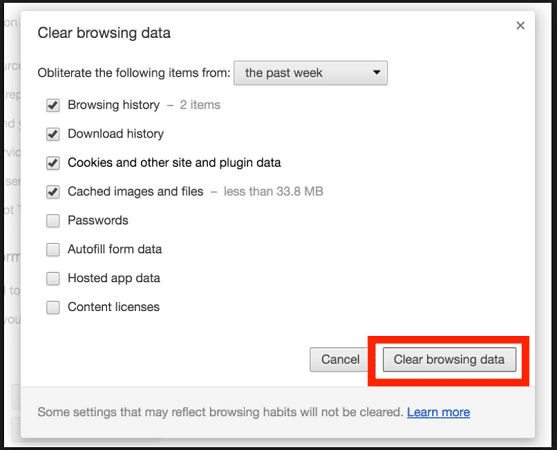 Deleting your Cache, Browsing Data and Cookies