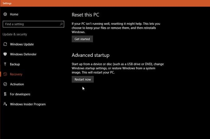 Recovery Settings Windows 10