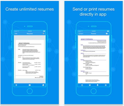 Quick Resume  App For Resume