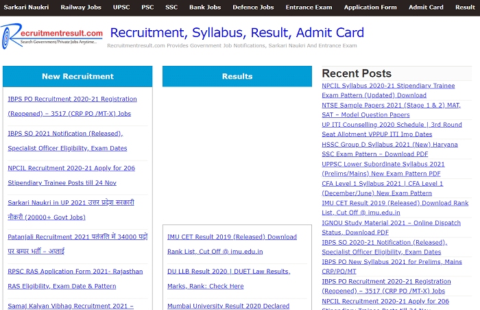 recruitment result