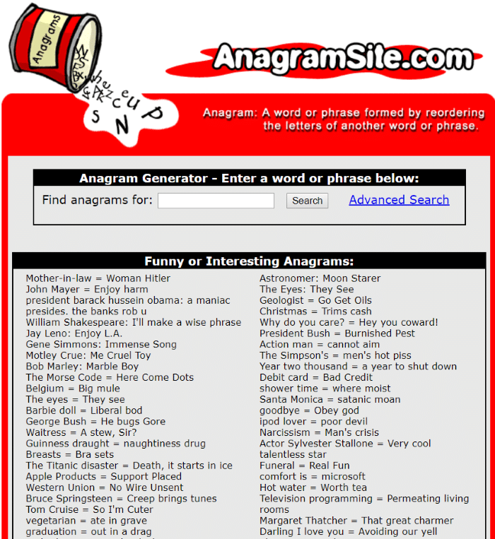 AnagramSite