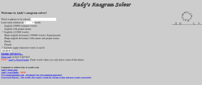 Andy's Anagram Solver