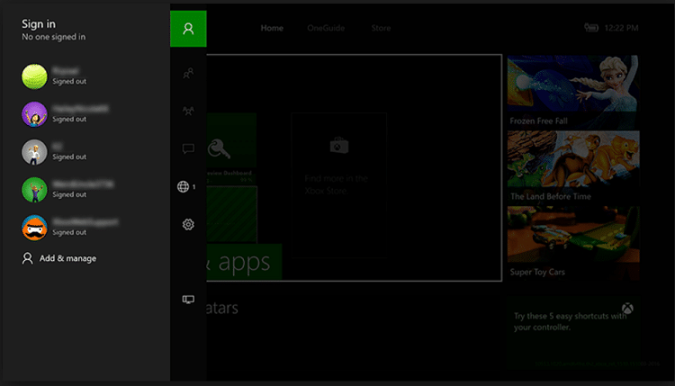 Switch Accounts on Xbox one