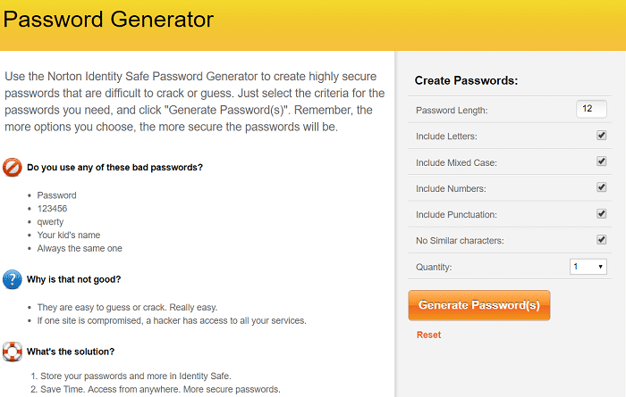 Norton Safe Password Generator