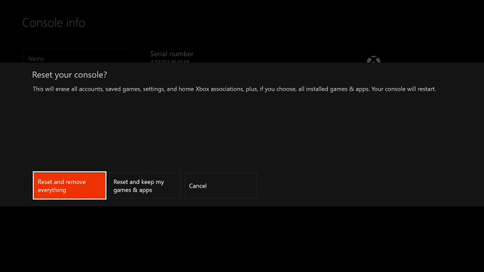 Factory Reset xbox one