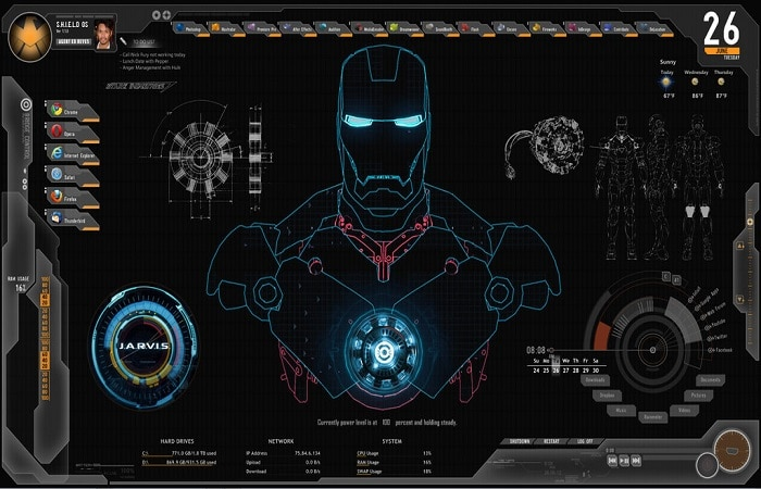 JARVIS + SHIELD Interface : Rainmeter Theme