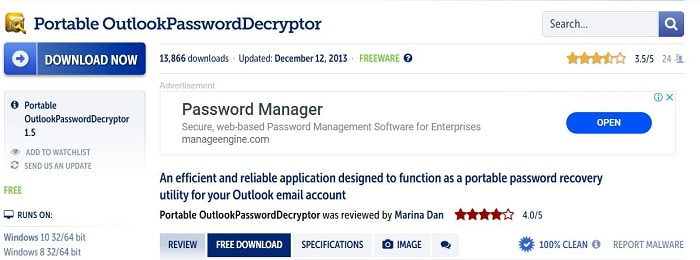 Portable Outlook Password Decryptor