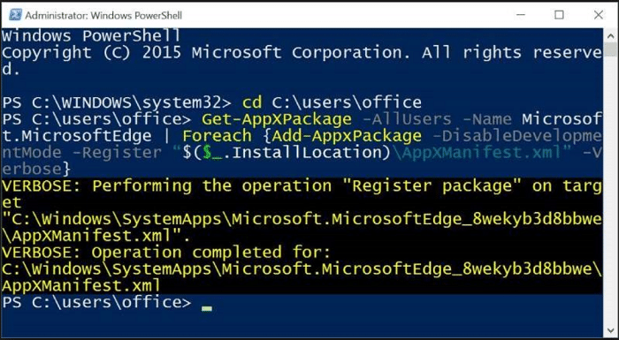 Reinstall Edge using PowerShell