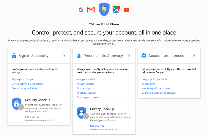 Settings>>Accounts>>Google Account