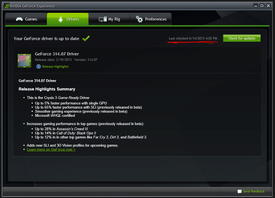 Update GeForce Experience driver