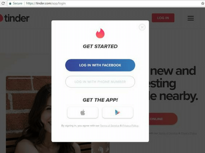 tinder login screen
