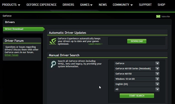 Drivers GeForce