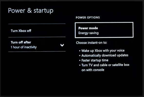 Energy saving mode on XBox One