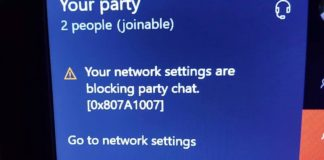 Network Settings are Blocking Party Chat