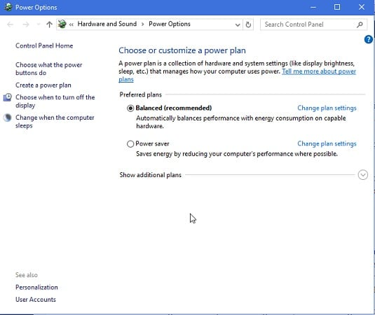 Power Options - Windows