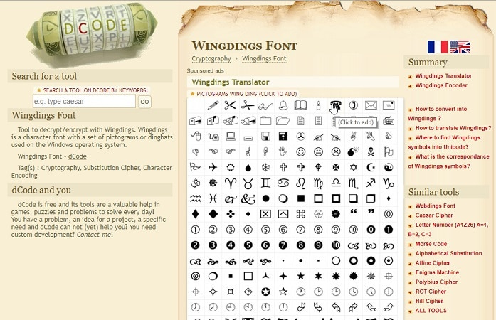 Wingdings DCoder