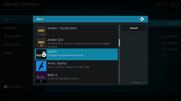 changing the Kodi Skin