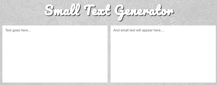 Lingojam Small Text Generator