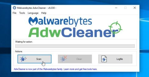 Malwarebytes Adwcleaner Scan Button