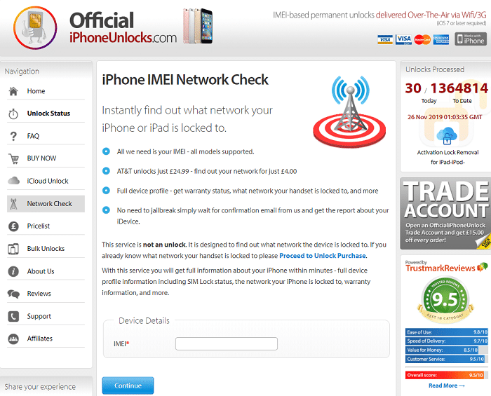 Official iPhone IMEI checker tool