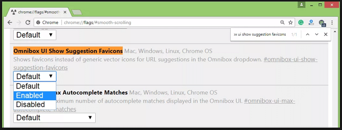 Omnibox UI Show Suggestion Favicons