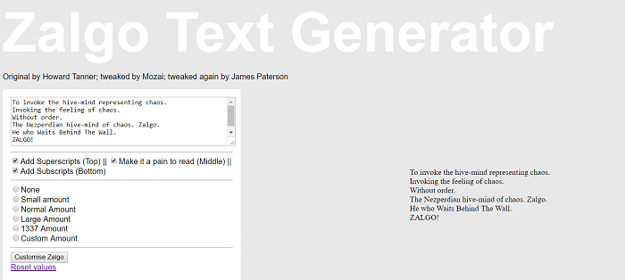 Zalgo Text Generator by James Paterson