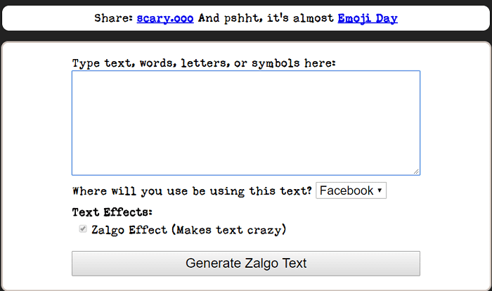 Zalgo text editor