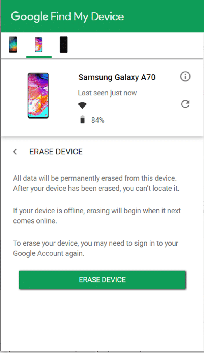 Find My Device- Erase Data