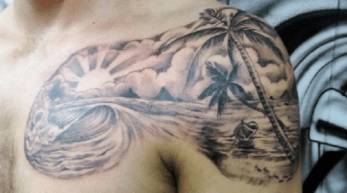 Shoulder Shore wave tattoo