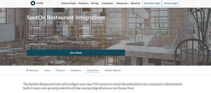 SpotON Restaurant Integration