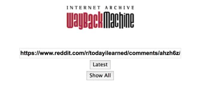 URL of reddit comment page