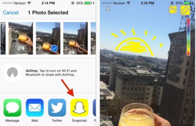 send pictures to snapchat from gallery