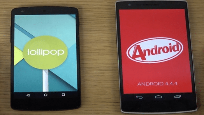 android kitkat and lollipop