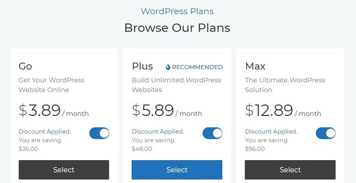 Skystra WordPress Pricing Plans