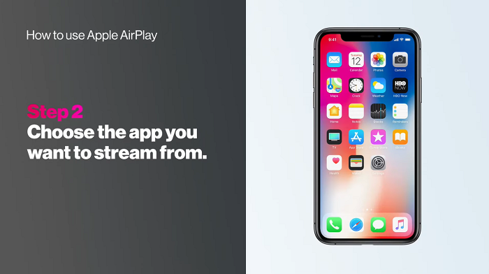Choose the application which you want to stream