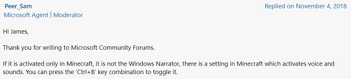 how to turn off narrator in minecraft