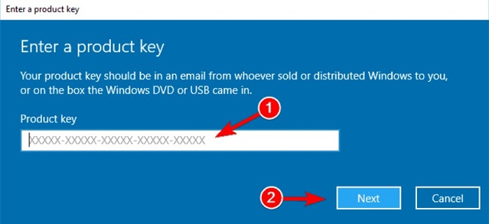 type in the product key