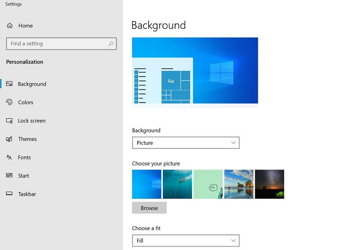 personalization window for different wallpapers on windows 10